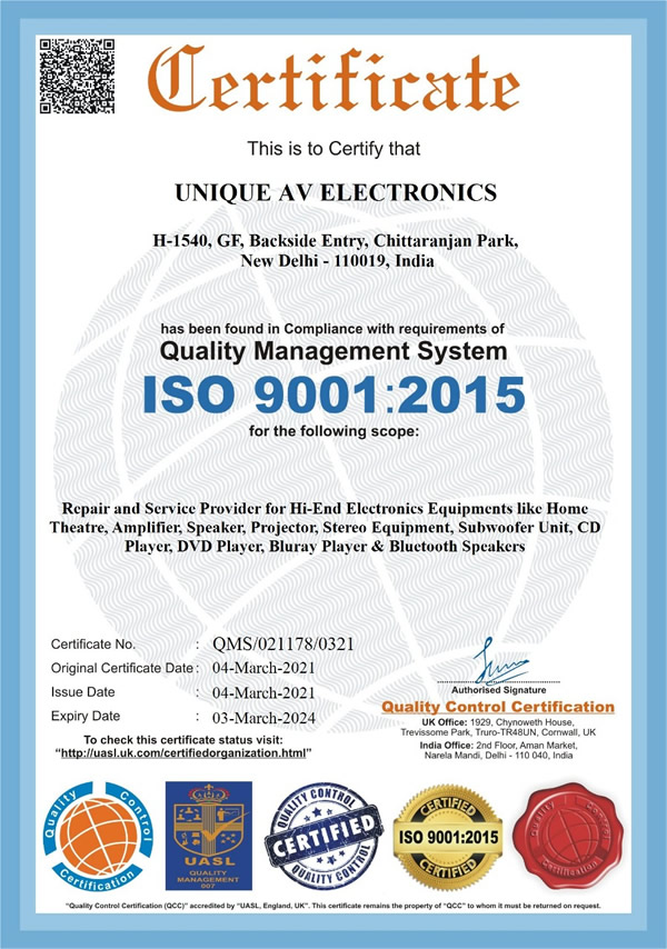 Unique AV Electronics an ISO 9001:2015 certified company